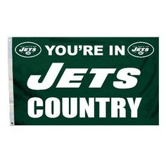 """This officially licensed Jets flag is made of durable 100% polyester and is designed with 2 heavy-duty metal grommets so it is easy to hang and fly. These high-quality banner flags read """"Your in New Y"""
