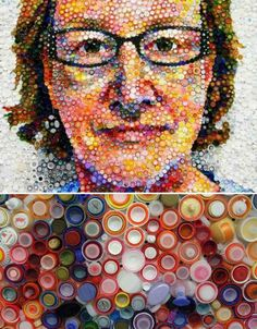 Recycled Art by Artist Mary Ellen Croteau. Inspiration for Green Team's Bottle Cap Mosaic of Pope Francis Art From Recycled Materials, Recycled Art Projects, Plastic Bottle Tops, Plastic Art, Bottle Top Art, Bottle Cap Crafts, Bottle Caps, Recycling, Found Object Art