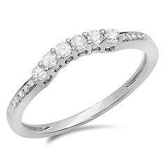 025 Carat ctw 14K White Gold Round Diamond Ladies Anniversary Wedding Stackable Band Guard Ring 14 CT Size 7 ** Details can be found by clicking on the image.