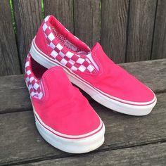 *On Hold* Pink Slip-On Vans Pink and white checkerboard Vans. Women's 9. Men's 7.5. Vans Shoes Sneakers