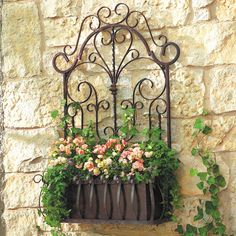 European Wrought Iron Trellis Wall Planter In Ideas 4 Outdoor Planters, Outdoor Walls, Outdoor Gardens, Outdoor Decor, Indoor Outdoor, Window Planters, Outdoor Flowers, Outdoor Art, Hanging Planters