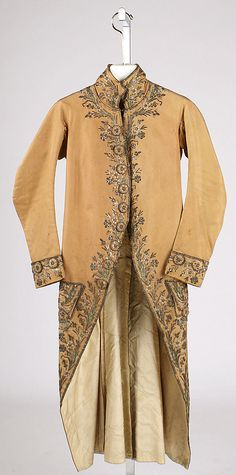 Coat 1770, French, Made of silk, Cutaway Justacorp
