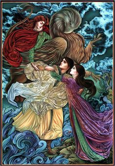 "Laurel Long ~ Illustration from ""The Lady & the Lion: A Brothers Grimm Tale"""