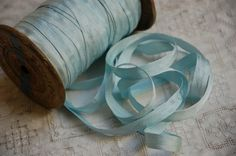 Vintage French silky ribbon trim, aqua french tape, millinery trim, sewing or craft trim, soft sky blue, french haberdashery, dolls, ballet