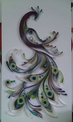 inspiration only - upcycling - toilet paper roll - amazing wall art - beautiful peacock