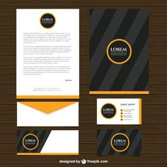 Modern striped business stationery Free Vector