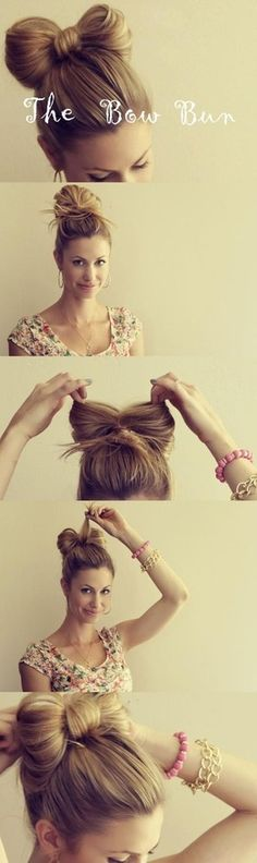 Tutorial on how to do a hair bow bun- Love this! Ive always wanted to do this hairstyle. This tutorial makes it so much simplier!
