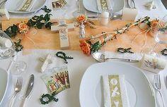 Komplette Tischdeko Kommunion Hochzeit creme aprikot orange