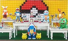 Ideas, decoración y manualidades para fiestas: Fiesta temática de Pokemon 1st Birthday Party Themes, Baby Girl 1st Birthday, Pokemon Birthday, Pokemon Party, Pokemon Balloons, Child Day, Party Activities, Diy Party, Ideas Party