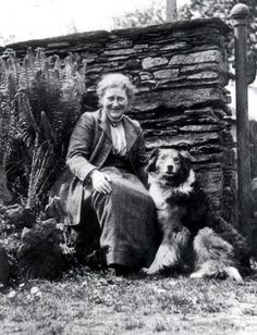 Beatrix Potter  (photographed at her Hill Top         cottage in 1913 with her dog Kep; photo courtesy of the Victoria and Albert Museum)