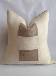Block Style Two Tone Burlap Pillow Cover by BouteilleChic on Etsy, $32.00
