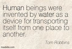 Human beings were invented by water as a device for transporting itself from one place to another. Tom Robbins