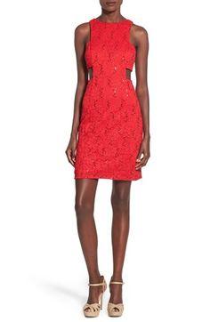 Morgan & Co. Side Cutout Sequin Lace Dress