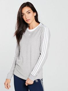 Shop at Ireland's largest online department store for all of the latest fashion, gadgets and homewear with FREE delivery and FREE returns on your orders. Adidas Originals, Latest Fashion, Long Sleeve Tops, Stripes, V Neck, Medium, Grey, Shopping, Women