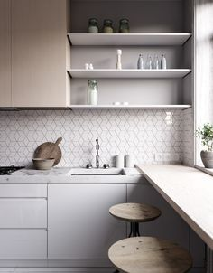 CUISINE: Faience + portes blanches