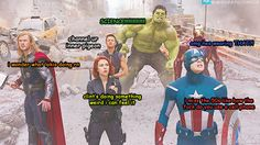 A summary of the avengers. Clint and Natasha though