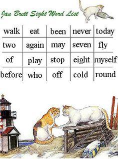 Beautifully illustrated Jan Brett Flash Card Dolch Word List