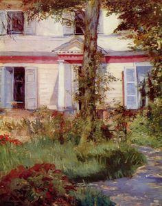 Edouard Manet.  Haus in Rueil. 1882, Öl auf Leinwand, 73 × 92 cm. Melbourne, National Gallery of Victoria. Frankreich. Impressionismus.  KO 01722