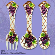 3 Piece Grapes Kitchen Wall Plaque Set | eBay Kitchen Canisters, Kitchenware, Kitchen Themes, Kitchen Decor, Apartment Decorating On A Budget, Purple Kitchen, Wall Plaques, Kitchen Stuff, My Dream Home