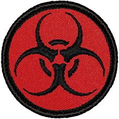 Biohazard Red Border 9cm Patch Embroidered Sew or Iron on Badge