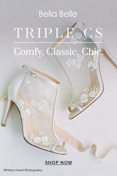 Untraditional and modern brides love the Belle wedding bootie. Trendy with the embellished flowers and pearls and secure in a bootie silhouette, fall in love with Belle. Peep Toe Wedding Shoes, Wedding Heels, Chic Wedding, Enchanted Bridal, Belle Bridal, Embroidered Flowers, Bridal Collection, Brides, Shop Now