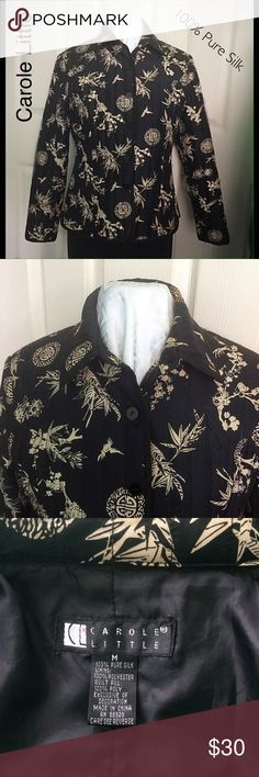 Fantastic Black Print Silk Designer Jacket OH SO FANTASTIC - Black & Oriental Beige Print with Scattered Black Seed Beads.  Softly Quilted and Completely lined. VERY GOOD LOOKING!  WOW! Jackets & Coats