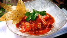 ecuadorian shrimp ceviche |  shrimp · sweet corn · jicama · chipotle ·  cilantro · red onion ·  tomato · roasted red bell pepper · chips