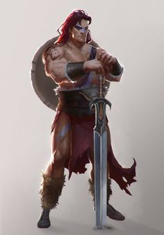 cartoon male human wield greatsword fur loincloth strong elite Barbarian by T-razz Fantasy Races, Fantasy Warrior, Fantasy Rpg, Medieval Fantasy, Game Concept Art, Character Concept, Character Art, Character Design, Fantasy Portraits