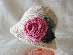 Hand Knitted Baby HatBrimmed Baby HatAll Weather por CottonPickings, $26.00