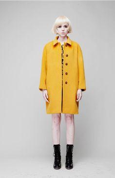 Minimal Angora Coat by @FreaksKIMTAEHOON, $258.00 #handmade #coat #angora #minimal #mustard #yellow #ochre