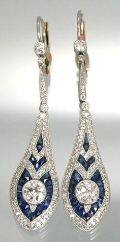 Vintage Jewelry Art A Pair of Art Deco Sapphire and Diamond Ear Pendants. Mounted in platinum, sapphires, diamonds, and yellow backs. Anel Art Deco, Art Deco Schmuck, Bijoux Art Nouveau, Art Deco Earrings, Art Deco Jewelry, Modern Jewelry, Fine Jewelry, Ear Earrings, Teardrop Earrings