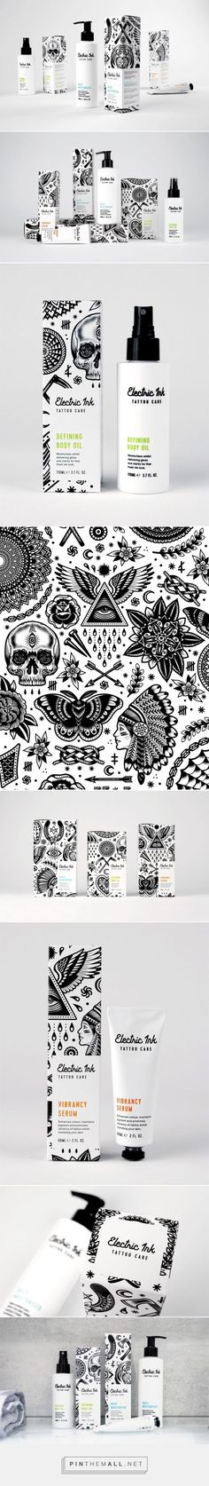 Electric Ink Tattoo Care packaging design by Robot Food - http://www.packagingoftheworld.com/2017/03/electric-ink-tattoo-care.html