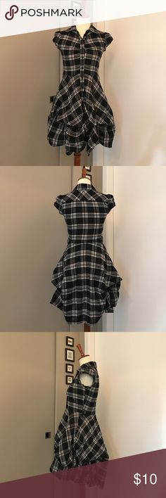 IZ Byer California Black and White Plaid Dress I wish this fit! I purchased on Posh but it's too tight in the chest area. It's so unique with the gathered plume hem, edgy, yet classic 50's housewife vibe. Swoon! Junior's small. Did not come with belt. Iz Byer Dresses Mini
