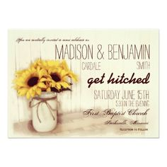 "<a href=""http://www.zazzle.com/rusticcountrywedding/products/cg-196305942686655896?ps=120&rf=238133515809110851&tc=SeeAllButton""><img src=""http://dabuttonfactory.com/b.png?t=See%20all%20matching%20items%20HERE&f=sans-serif-Bold&ts=19&tc=ffffff&it=png&c=15&bgt=unicolored&bgc=4d96d6&hp=20&vp=11""></a>   Rustic Country Distressed Mason Jar Sunflowers Wedding Invitations with a vintage canning jar design with a twine bow and a bouquet of sunflowers.  They are sitting on an antique wooden box with…"
