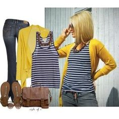 No comments only PERFECT !! Mustard yellow vest and white and dark blue horizontal striped blouse beautiful jeans color brown sandals and beautiful brown bag . Beautiful combination !!!!!!