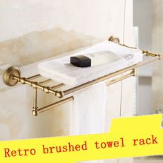 30~50cm Brass hotel bathroom bath towel holder, Square antique shelf  towel rack, Retro double storage rack towel bar