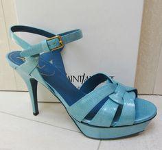 YSL Yves Saint Laurent TRIBUTE 75 Platform PAILLE PATENT AZURE BLUE Shoes 40
