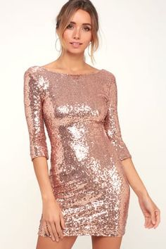 Sexy Sequin Dress - Mauve Sequin Dress - Sequin Bodycon Dress