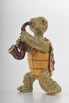 Turtle Playing the Saxophone Faberge Styled Trinket Box Handmade by Keren Kopal Enamel Painted Decorated with Swarovski Crystals
