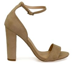 Morris-02 Natural Ankle Cuff Thick Strap Open Toe Chunky Heels