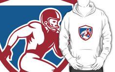 American Football Player Running Shield Retro by patrimonio