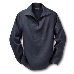 Linen Fisherman's Shirt Blue