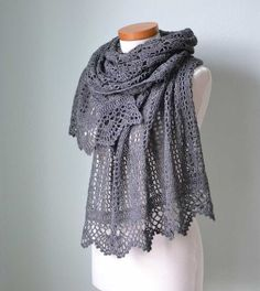 Lace crochet shawl Grey  H780 by Berniolie on Etsy, $116.00