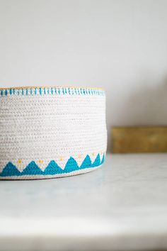 """Beige cotton basket with gold-turquoise decorating """"Sea and sun"""""""