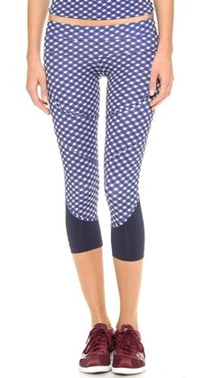 Gingham cute in blue with sheer accents at the strap and pointy tips at the top of the Ladies. Like country strong for the city gym.  adidas by Stella McCartney Running 3/4 Leggings