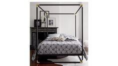 "Shop frame canopy bed.   Matte black powdercoated iron streamlines the classic canopy bed in dramatic silhouette.  Edged with iron corners finished in glam plated brass, dark design rises 80"" high from the ground."