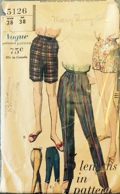 VTG 5126 Vogue (1960) slim pants, shorts, bermudas.  Waist 28, Hip 38.  Complete, unused, neatly cut.  Excellent condition. by ThePatternParlor on Etsy