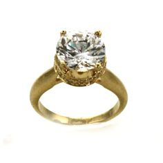 The Simon Frank Collection 14k Yellow Gold Overlay CZ Ring (Size 10), Women's (solid)