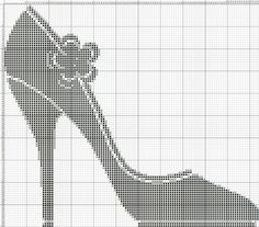 0 point de croix chaussure noire - cross stitch black shoe