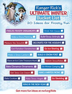 218e27855e Get our new printable--Ranger Rick's Ultimate Winter Bucket List! 20 ideas  for